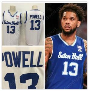 2020 Seton Hall Myles Powell College-Universität 13 Jersey Jerseyshemden blau weiß Größe S-XXL Suture genähtes Sport heißen Verkauf