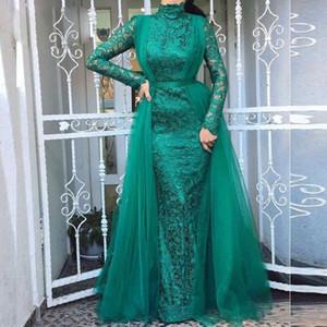 Graceful Green Mermaid Prom Kleider High Neck Langarm Volle Spitze Geraffte Abric Dubai Abendkleid Lang Tüll Abendkleid