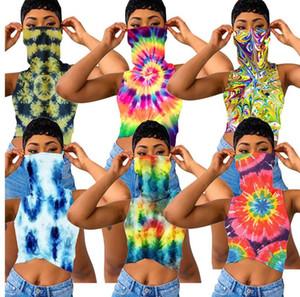 여성 T 셔츠 페이스 마스크 자르기 최고 여름 레이디 의류 D6905와 꽃 인쇄 조끼 민소매 T 셔츠를 타이 염색