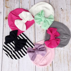 New Europe Infant Baby Boys Girls Hat Kids Elastic Bowknot Turban Hat Children Cotton Hats 15141
