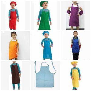 Los niños para niños Plain Delantales Niños Niñas que cocinan la pintura Herramientas del arte babero delantal de limpieza del hogar cocina LXL823-1