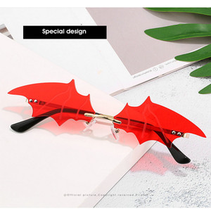 Bat rimless sunglasses 2020 New Cool Bat Sunglasses Women Men Brand Rimless Sun Glasses Red Black Green Lens Mirror UV400 Sunglass EnbTo ePe