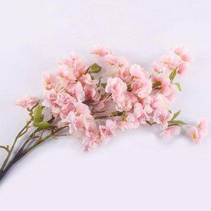 Seta artificiale Sakura Cherry Blossom Flores Oriental Cherry decorazione di cerimonia Camera di albergo partito accessorio in seta fiori finti piante