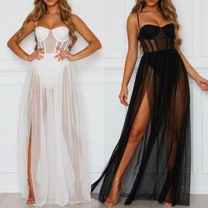 여름 2PCS 드레스 여자 섹시한 관점 메쉬 거즈 민소매 등이없는 파티 드레스 블랙 화이트 긴 맥시 드레스 sundress에