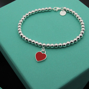 T letter bracelet 925 silver beads charm bracelet bangles with heart l and pearl for women