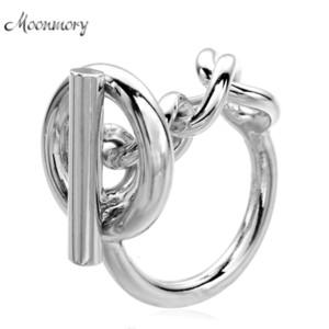 Moonmory 925 Sterling Silver Rope Cadeia Anel Com Hoop bloqueio para as mulheres francesas Popular fecho de anel de prata Sterling Fazendo CJ11911111