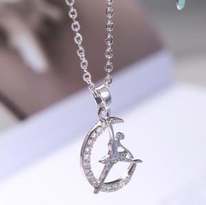 designer jewelry ballet girl pendant necklace moon shape ballet dancer pendant necklace for women hot fashion