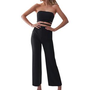 Kombinezon femme Kadın moda Yaz 2019 Sarılmış Göğüs Kolsuz Hollow Katı Casual Tulum vücut mujer tulum siyah kırmızı