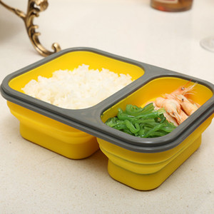 2 Cells Silicone قابل للطي Pento Box 900ml Microwave Oven Powl Fold Folding Food Storage Container With Cutlery Set