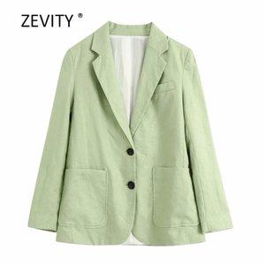 Zevity Frauen Normallacktaschen Patch Leinenblazer Reverskragen lange Ärmel Bürodame kausalen stilvolle outwear Mantel Tops C507