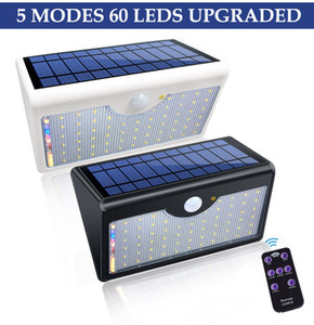60 lâmpadas solares LED 1300lm Super Bright Upgraded lamp Lights For Outdoor Wall Yard Garden With Five Modes In One Solar Lamps
