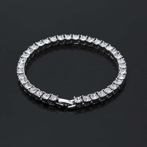 5mm Shining Crystal Bracelets Genuine 925 Sterling Silver Charms Bracelet Zircon Diamond Roman Tennis Link cuba Bracelet Jewelry