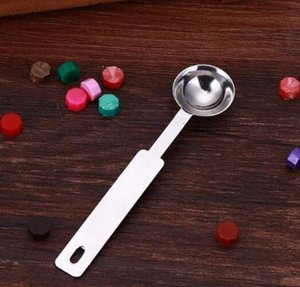500pcs Stainless Steel Stamp Spoon Paint Wax Stamps Sealing Spoon Long Handle Wax Spoon Melting Sealing Wax Stick Granule