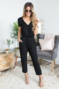 Womens Deep V-Neck Cross Jumpsuits Spring Summer Full Length Casual Rompers Short Sleeve Loose Women Clothing