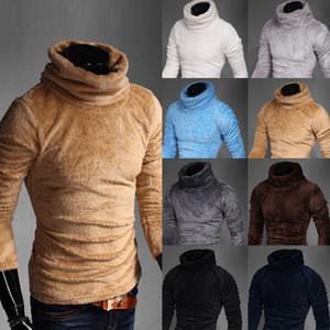 Mens Camisolas Velvet velo Pullover Mens Outono / Inverno Mulheres Masculino Turtleneck blusas de malha Turtle Neck capuz Tops Asiático Tamanho