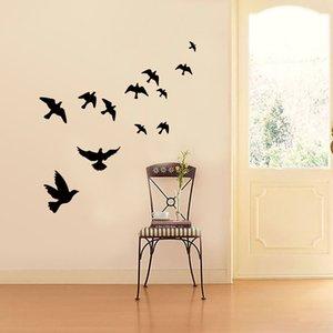 Grupo de pájaros etiqueta de la pared Negro tallado fondo del PVC vida sofá Tv decoración mural arte de las etiquetas engomadas del papel pintado
