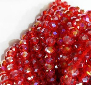 100pcs lot 6MM RED AB Faceted Crystal rondelle spacer Beads DIY Jewelry making