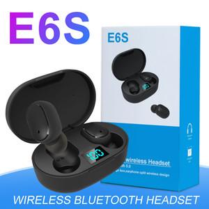 Mini TWS E6S Bluetooth 5.0 Auricolari iPhone Per i dispositivi Android stereo senza fili In-Ear auricolari di sport con LED Digital Charging Box