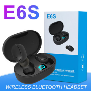 Mini TWS E6s Bluetooth 5.0 iPhone Para auriculares estéreo dispositivos Android sem fio In-Ear Esportes Earbuds com LED Digital carregamento Box