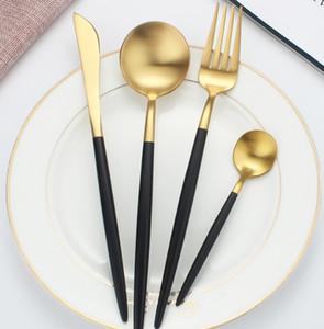 cucchiaio coltello serie Oro articoli per la tavola della forcella in acciaio inox 304 apparecchiò Western Nordic oro nero set di coltelli bistecca forchetta regalo cucchiaio