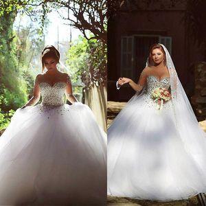 Роскошные свадебные рукава свадебные платья Ball Pown Crystal Crystal Bear Cheer O-SEEW HEW HOW на спине Поезд плюс размер свадебных платьев