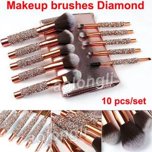 Кисти для макияжа Diamond 10 шт. Набор косметических кисточек с сумкой Профессиональная кисточка для макияжа Powder Eye Foundation Blush Eyeliner Brow Brush Kit