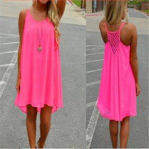 Frauen-Strand-Kleid Fluorescence Weibliche Sommer-Kleid Chiffon Voile Women Casual 2020 Sommer-Art-Kleidung Plus Size