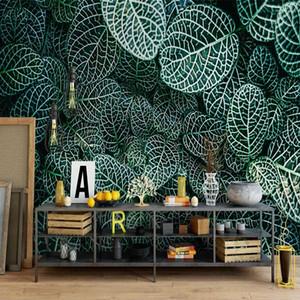 Damla Nakliye Özel 3D Photo Wallpaper Özet Yapraklar Modern Sanat Duvar Resimleri Dekorasyon Su geçirmez Tuval Duvar Kağıdı