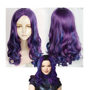 2020 Newest Descendants 3 Mal Cosplay Wig Beautiful Princess Hair Long Wavy Hair Halloween Synthetic Hair Purple and Blue Color