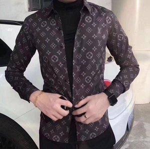2019 yeni sosyal uzun kollu mektup tasarımcı gömlek erkekler ince uygun bağbozumu modası erkek gömlek erkek Triko giyim