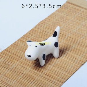 100pcs Lovely Dog Chopstick Holder Ceramic Chopsticks Rest Creative Household Tableware Stand 4 Styles Free Shipping