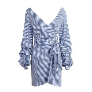 Womens listrado Alças shirt Moda Mini Ladies Vestidos Ladies Long Sleeve V-Neck Sexy Vestido Fashion Dress Verão Novo 2019
