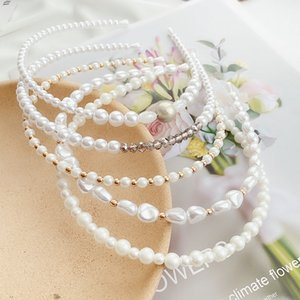 Triple White Pearl Hairpin Hair Cutting Style For Female With Hairband Bridal Pearl Hairband Baby Girl Hair Bands Veoxa