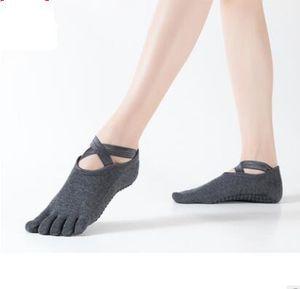 Calzini di vendita-yoga calzini da ballo bipedal sport cinque dita calze calze anti-skid professionale calze da yoga cinque dita croce dimensione libera