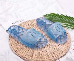 chinelos sandálias de luxo designer 2020 geléia sandálias de cristal preto vermelho Mulheres com Slide caixa de Designer de luxo Verão Plano Sandals Slipper 35-45