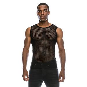 Mens T sexy della maglia camicia trasparente Nuovo vedi la Muscle a rete a maniche lunghe Undershirts Locale notturno Party Eseguire T superiori