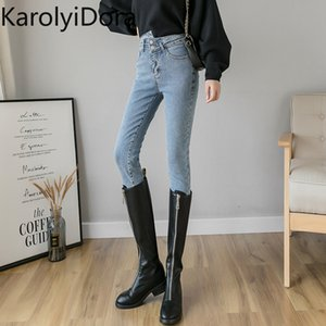Fashion 2020 spring high-waisted small jeans women were thin slim fit wild tight stretch pencil pants fleece soft warm