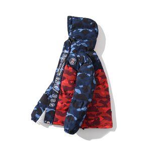 Blu Rosso Camo Splice spessa giacca Autunno Inverno Nuovo stile di Lover Lover Moda cardigan con cerniera allentati Giacche