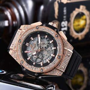 Luxus-Mode-Gold-Armbanduhr All Sub-Zifferblätter Arbeits-Mann-Sport-Quarz-Uhren Stoppuhr Chronoskop Gummiband-Uhr 2020 neue Ankunft