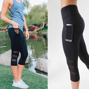 2019 Seven Points Running Sports Hit Underpants Side Pocket Mobile Phone Three Duan Mesh Yoga Pants