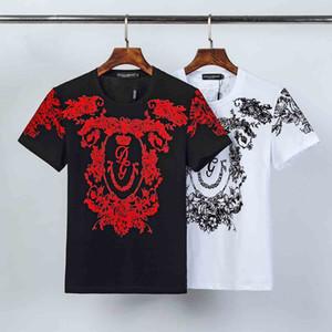 2020 atacado clássico Moda Impresso Phillip Plain de manga curta T-shirt ocasionais dos homens Crânio principal perfurado preto branco fino Marca shirts m-
