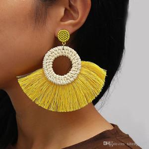 Circle Fan Shaped Straw Tassel Earrings For Women Straw Weave Rattan Braid Tassel Earrings Dangle Earings Bohemian Jewelry