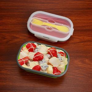 Silicone grande boîte à lunch pliable avec fourche Camping en plein air Bento Box respectueux de l'environnement bol de salade pliable 800 ml de qualité alimentaire BH0513 TQQ