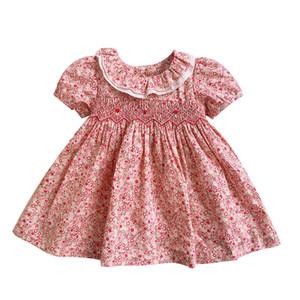 Bebek Bebek Büzgü Bebek Prenses Pamuk Ekose Elbise Yenidoğan Toddler Kız Baskı Çiçek El Yapımı Klasik Smocked Elbiseler J190619