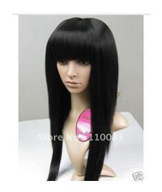 Место очень шикарный тренд королева изысканные волосы женщин без кружева Kanekalon косплей черный длинные прямые аккуратные взрыва женщины девушка парик