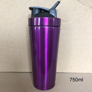 Proteine 700ml metallo dell'acciaio inossidabile Shaker Cup Blender miscelatore acqua Bottiglia bottiglia di sport con il coperchio di trasporto