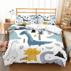 Dinosaur meninos família dos desenhos animados Jogo do fundamento completa Rainha King Size Roupa de cama edredon cobrir Set 3Pcs Lençois Set nenhum enchimento