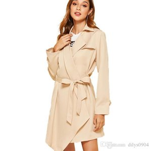Best-selling apricot mid-long windbreaker woman autumn 2019 new pure-color European and American temperament commuter jacket self-cultivatio