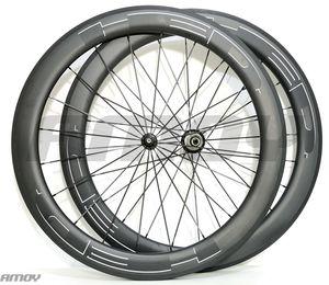 700c 60 ملليمتر عمق الطريق عجلات الكربون 25 ملليمتر عرض الطريق دراجة الفاصلة / أنبوبي الكربون العجلات u- شكل حافة ud ماتي النهاية الأبيض hed الشارات