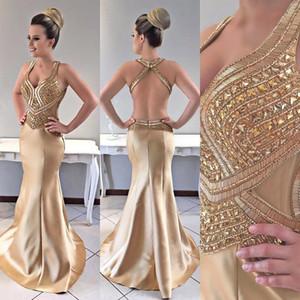 Prom Kleider Schultergurte Satin Sweep Zug Major Perlen Sexy Mermaid Gold Abendkleider mit offenem Rücken Vestido Festa Longo Plus Size